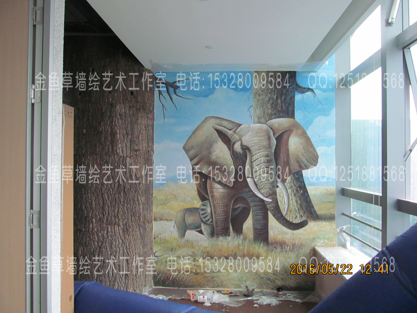 森林墙绘长画幅
